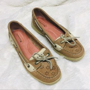 Sperry Topsider Boat Loafers Punched Flowers 7M